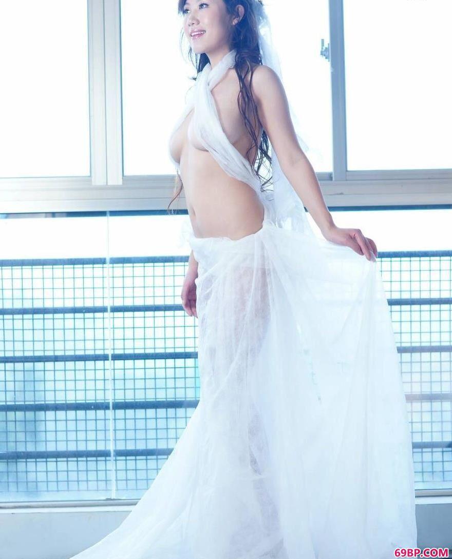 模特蓝衣细纱美体2